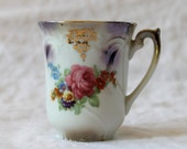 German Lusterware Teacup. Vintage Floral Demitasse Cup