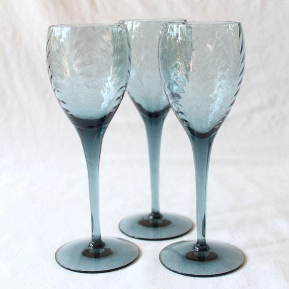 Vintage lenox blue crystal wine glasses by peppermintteavintage - Lenox colored wine glasses ...