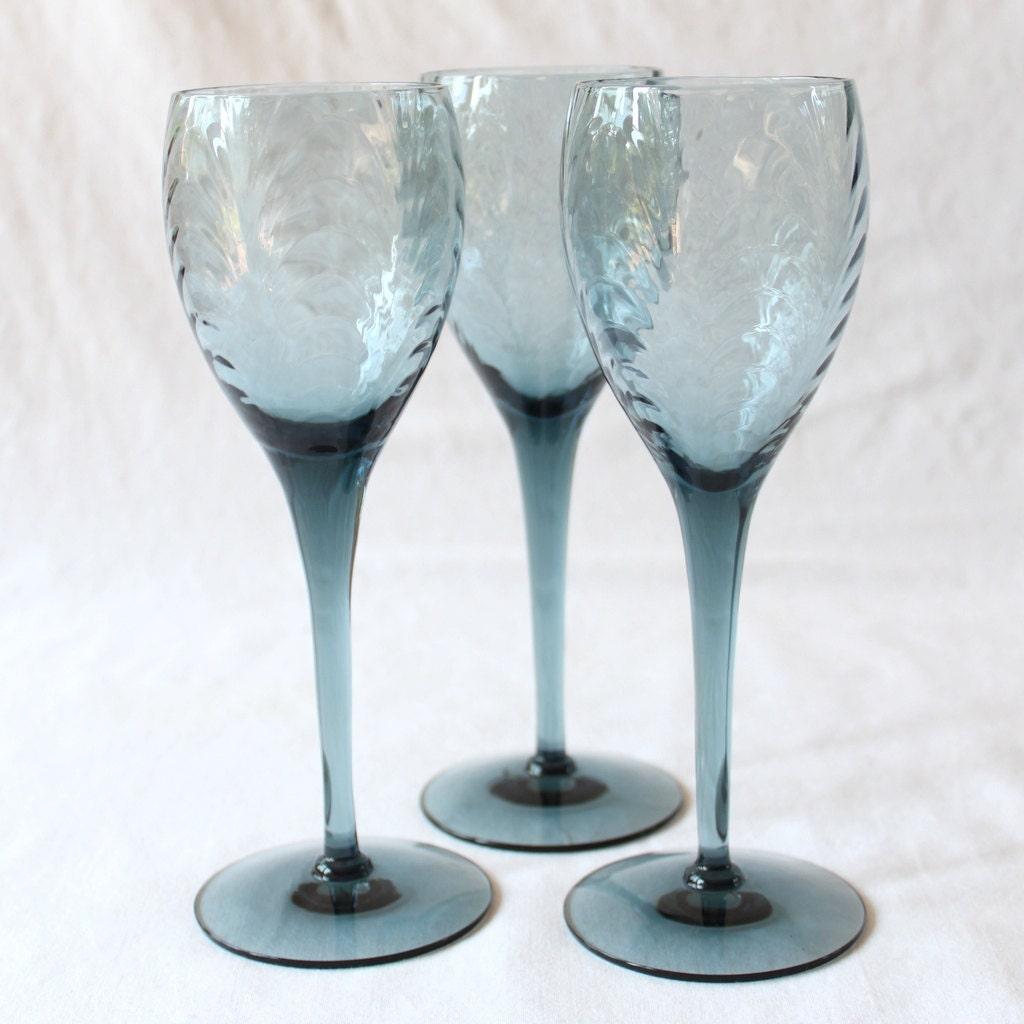 Vintage Lenox Blue Crystal Wine Glasses