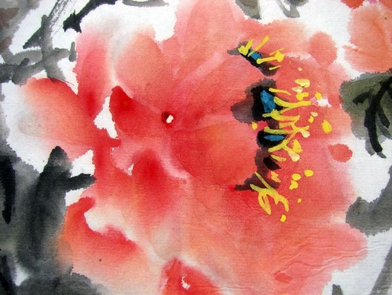 FREE SHIPPING/H10-046/Oriental Chinese painting/watercolor/peony/red/flower/special promotion
