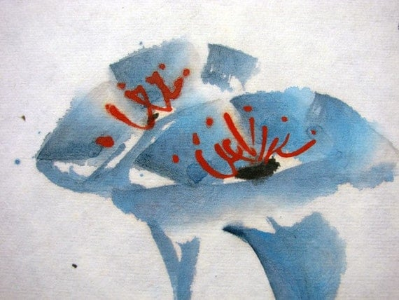 FREE SHIPPING/H10-047/Oriental Chinese painting/watercolor/blue flowers/partner/couple/love/chinese arts/asian paints