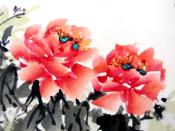 FREE SHIPPING/H10-023/Art Oriental Chinese ink painting/watercolor/mounted/red flower/peony/lucky/noble/famous painter