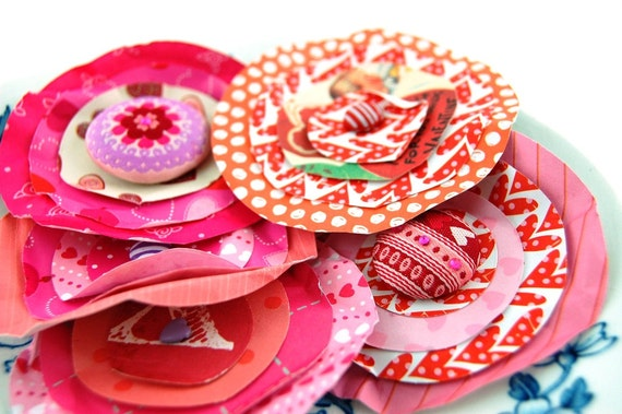 FINAL SALE Valentines Day Eco Friendly Paper Posies Set of 8