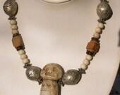 original Tibetan signature seal necklace with bones beads, carved jade  and Tibet coral