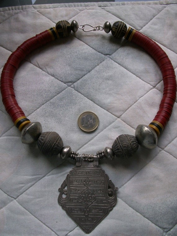 African ethnic tribal necklace with antique Persian silver amulet - OOAK