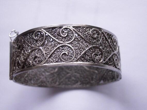 Morocco Moroccan antique silver filigree bracelet - ethnic tribal bracelet