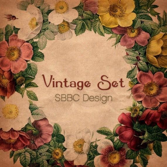 Sale Sale Sale OOAK Etsy Shop Banner Set, Premade Design - Vintage Floral Set