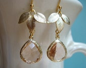 Champagne Glass and Gold Leaves Earrings. Bridesmaid Earrings.