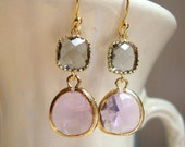 Gorgeous Lavender and Gray Glass Dangle Earrings. Bridal Earrings. Bridesmaid Earrings. Wedding Earrings