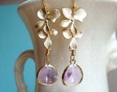 Cascading Gold Orchid and Lavender Glass Dangle Earrings. Bridal Earrings. Bridesmaid Earrings. Wedding Earrings