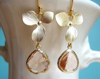 Matte Gold Orchid and Champagne Glass Dangle Earrings. Bridesmaid Earrings. Bridal Earrings. Wedding Earrings