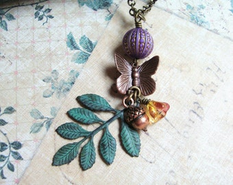 Fall Garden. Butterfly, Patina Leaves, Acorn and Fall Flowers Necklace.
