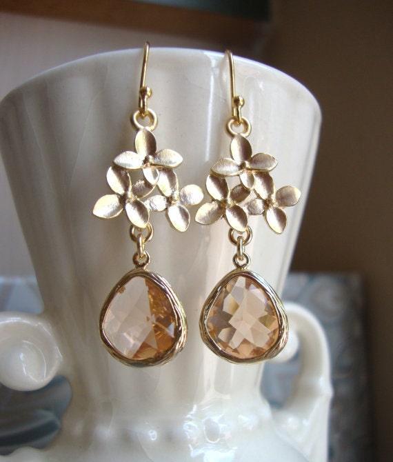 Cherry Blossom and Champagne Dangle Earrings. Bridal Earrings. Bridesmaid Earrings