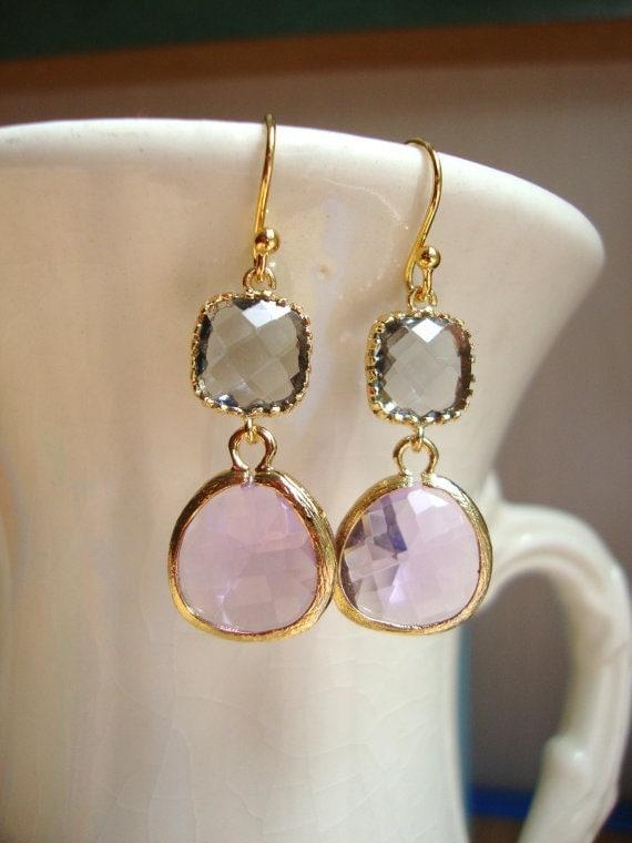 Gorgeous Lavender and Gray Glass Dangle Earrings. Bridal Earrings. Bridesmaid Earrings. Wedding Earrings