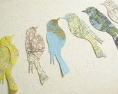 Vintage Map Die Cuts - Birds - Bird Die Cut - Old Map Die Cut - Paper Bird Shape - Map Paper Shape - Card Topper - Paper Bird - Paper Map