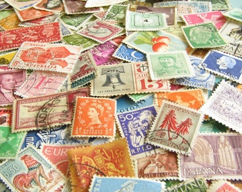 Vintage Postage Stamps - Stamp Mix - Worldwide Stamps - Stash of Stamps - Paper Ephemera - Old Postage Stamps