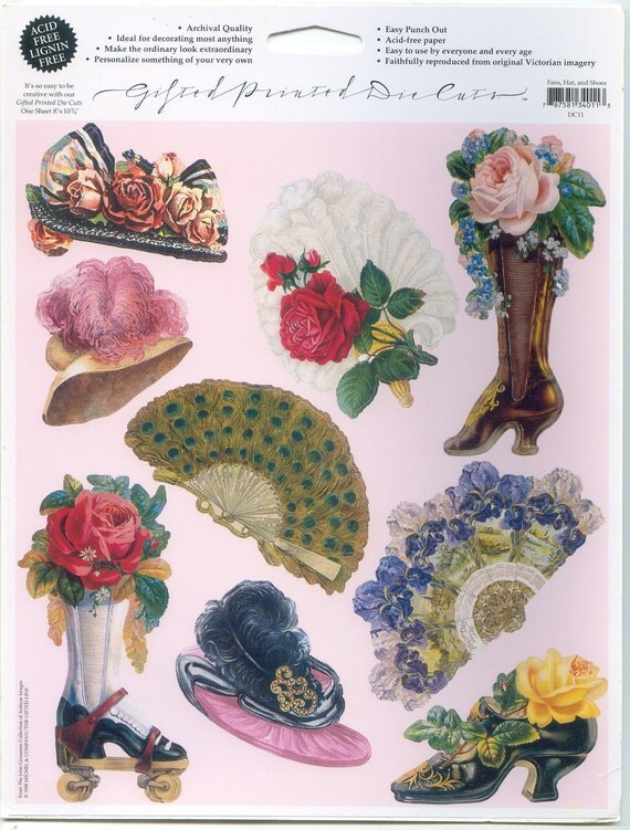 Victorian Fans, Hats and Shoes - Gifted Printed Die Cuts - The John Grossman Collection