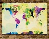 Watercolor World Map - 24x36 Canvas Print (multiple color options)