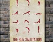 Sun Salutation / 12 basic Yoga postures - 24x36 Canvas Print (multiple color options)