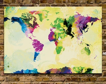 Watercolor World Map Mounted Canvas Wall Art Multiple Color