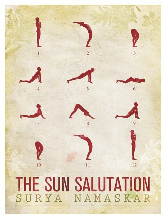 Sun salutation 12 basic yoga poses 18x24 poster
