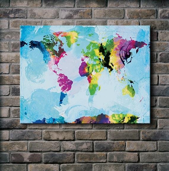 Watercolor World Map - 18x24 Canvas Print (multiple color options)