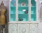Vintage China Cabinet Aqua with Tea stain Finish