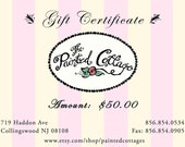 50 Dollar Painted Cottage Gift Certificate