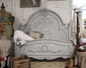 Painted Cottage Chic Shabby Dove Grey Queen Romance Bed - paintedcottages