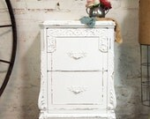 Painted Cottage Chic Shabby White French Vintage Night Table NT262
