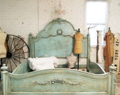 Painted Cottage Romantic French Aqua Eastern  King Bed