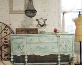 RESERVEBevPainted Cottage Chic Shabby Aqua French Server / Buffet SV265