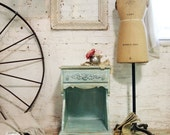 RESERVED for BREE Painted Cottage Chic Shabby Aqua French Night Table NT372