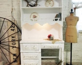 RESERVEReneePainted Cottage Chic Shabby White French Country Desk DK245
