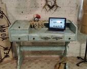 RESERVED for ARLENE Painted Cottage Shabby Aqua Chic Farmhouse Desk DK248