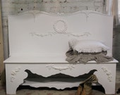 Painted Cottage Chic Shabby Hand Made Farmhouse Bench CHR230
