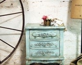 Painted Cottage Chic Shabby White Romantic Night Table NT412