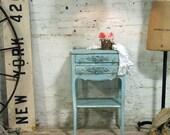 Painted Cottage Chic Shabby  Aqua Romantic Night Table NT422