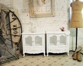 Painted Cottage Shabby White Pair of  Romantic French Night Tables NT45