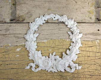 Painted Cottage Chic Shabby Rose Wreath Furniture Applique APP01