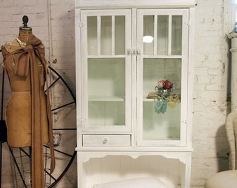 Painted Cottage Chic Handmade Farmhouse Cabinet CC159