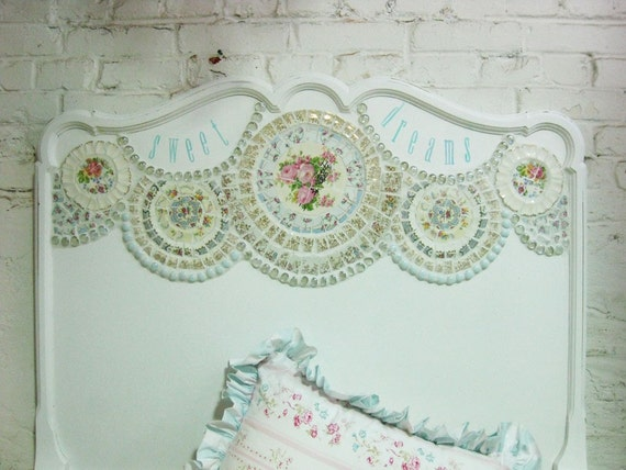 Sweet Dreams Vintage Painted Cottage Shabby White Mosaic Twin Bed