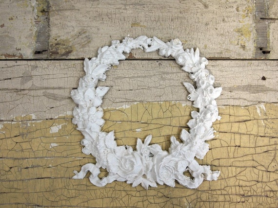 painted cottage chic shabby rose wreath furniture applique. Black Bedroom Furniture Sets. Home Design Ideas