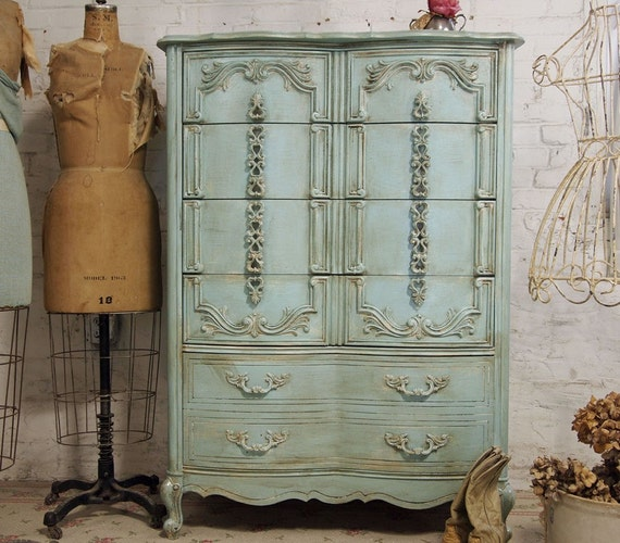 RESERVED FOR ASHLEY Vintage Painted Cottage Shabby Aqua Chic  Dresser CH133