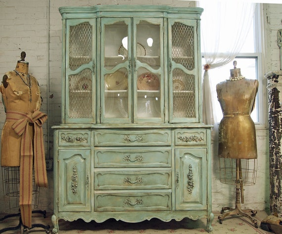 Reserve For Annie Vintage Painted Cottage Chic Shabby Aqua China Cabinet with Secretary CC135