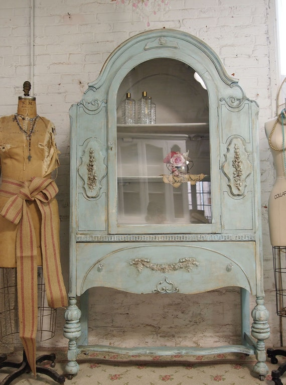 Vintage Painted Cottage Chic Shabby Aqua China Cabinet Cc143