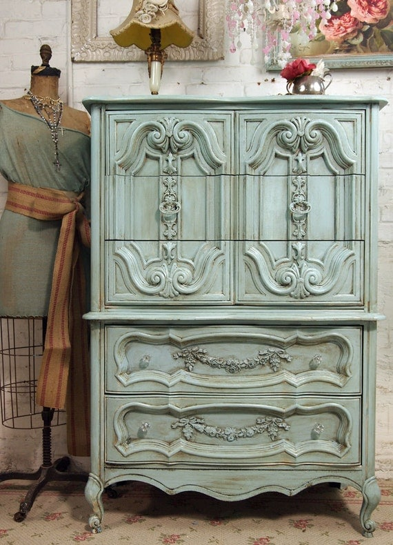 Vintage Painted Cottage Chic Shabby Aqua French Chest CH150