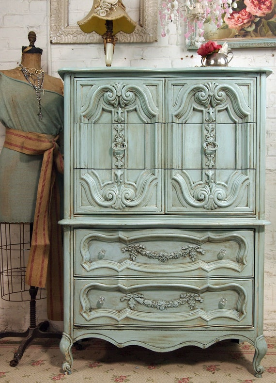 vintage painted cottage chic shabby aqua french chest ch150. Black Bedroom Furniture Sets. Home Design Ideas