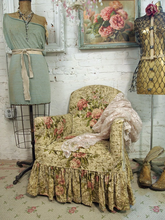 RESERVE for Twolilo Vintage Painted Cottage Chic Shabby Rose Boudoir Chair UP102
