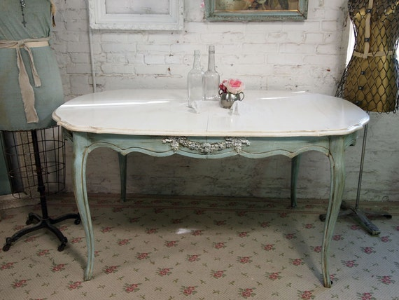 Shabby Chic Breakfast Table: Vintage Painted Cottage Chic Shabby Aqua Chic Dining Table